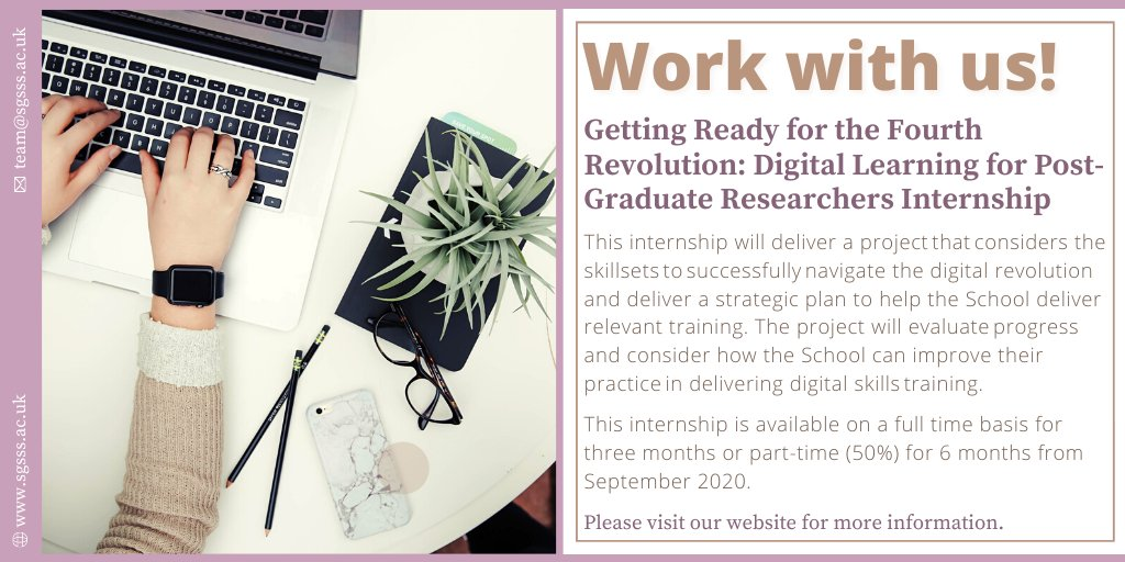 The SGSSS Digital Learning #internship will deliver a projectthatconsiders the skillsetstosuccessfullynavigate the digital revolution. The deadline to apply is Friday 21 August - take a look here! 👉 https://t.co/V2Z6BU1odt #phdchat https://t.co/ynywLb3Oqk