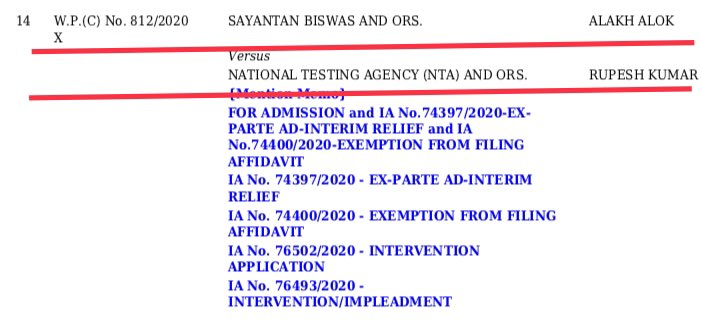 #Update  -Our #NEET #JEE Petition is listed on 17th August, 2020 (Monday) before a 3-Judge Bench of Supreme Court as Item No.14  -NTA already filed its Vakalatnama in our Case  -Two intervention applications also filed  -We will get Justice in SC for our young NEET JEE aspirants