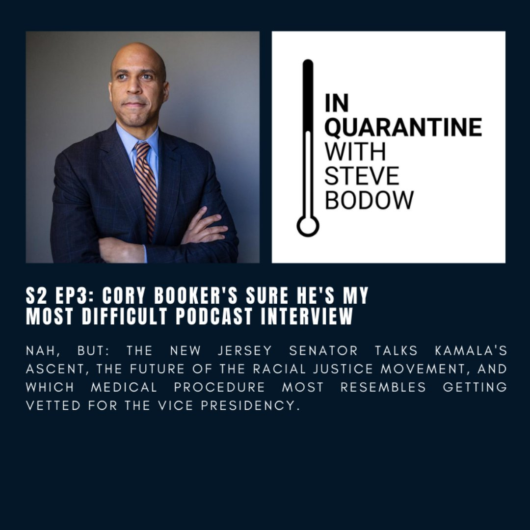 Check out @CoryBooker on the latest episode of In Quarantine with Steve Bodow. We promise that it's not the worst episode ever...   https://t.co/JB33TwIctU https://t.co/Cmz1JVHJrq