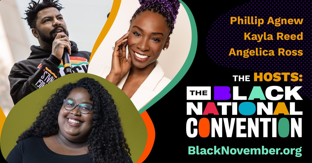 We're getting close!! 15 days from now we unveil the 2020 Black National Convention on Friday, August 28. Today we announce our hosts who will unveil the #BNC2020, which will be a virtual experience. Huge shout out to @AngelicaRoss @iKaylaReed and @iPhilSomething.