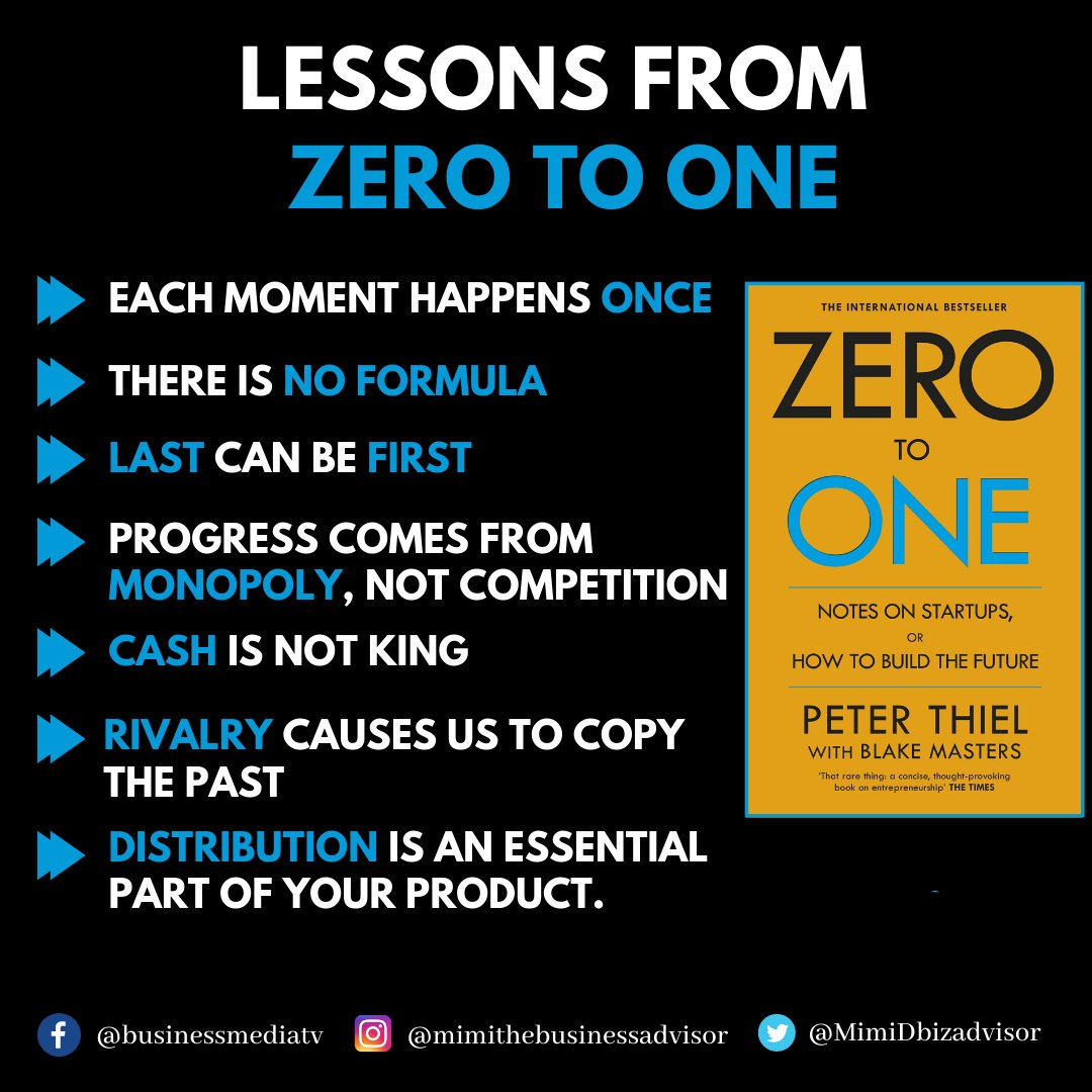 Lessons from zero to one  Follow @mimithebusinessadvisor for daily business posts. . . .  #financialfreedom #money #entrepreneur #business #finance #investing #financialliteracy #investment #success #forex #wealth #motivation #realestate #passiveincome https://t.co/I5WsNvr4jH