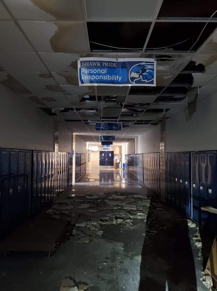 the hallway at jefferson high school in cedar rapids right now... far too many people's homes look like this too. NATIONAL COVERAGE IS NEEDED