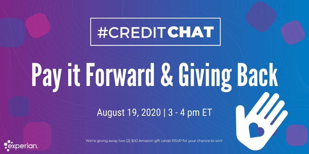 Next week on #CreditChat, we're going to talk about ways to 🙋♂️🙋♀️ #volunteer, #GiveBack, and #PayItForward to your community. 💜  🎁 RSVP for your chance to win one of two $50 Amazon gift cards: https://t.co/C3qeLQSuhI https://t.co/MJOV4PI12H