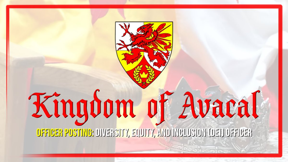 The Kingdom of Avacal is currently looking to fill several officer positions! Please visit our Facebook page for more info -> https://t.co/LDoBYltEC7  #avacal #sca #MySCA #SCAatHome #officer #volunteer #dei https://t.co/IRLdxEbTn5