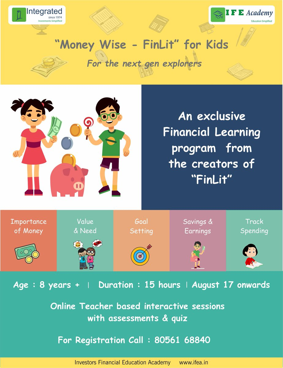 Financial awareness is a must  for every individual. Initiating your child into learning how to handle money, is perhaps the best investment you can plan for your children. #finlit #financialeducation #FinancialLiteracy #financialfreedom #financialindependence #MoneyMatters #ifea https://t.co/aci0zJCvZS