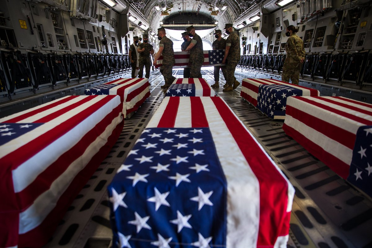 They were ages 18-22 Pfc. Bryan Baltierra,18 Lance Cpl. Marco Barranco, 21 Pfc. Evan Bath,19 Navy Hospital Corpsman Christopher Gnem, 22. Pfc. Jack-Ryan Ostrovsky, 20 Cpl. Wesley Rodd, 22 Lance Cpl. Chase Sweetwood, 18 Cpl. Cesar Villanueva, 21 15th MEU back at Dover.