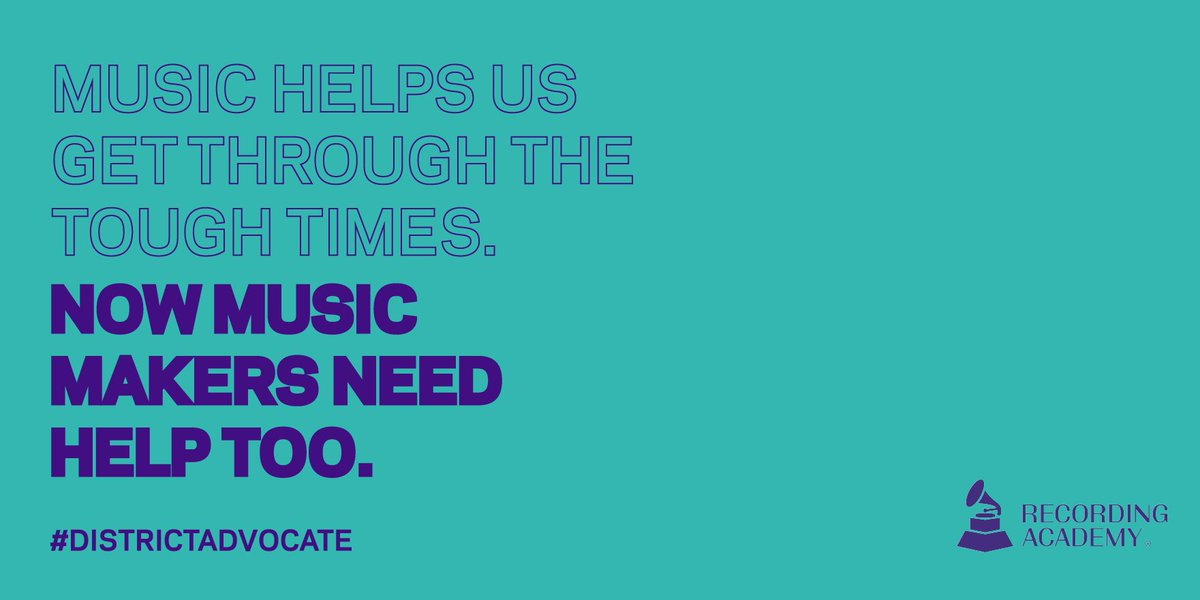 Become a #DistrictAdvocate by telling Congress to support music makers and music businesses: grm.my/3gZPFQM ➡️#HITSAct ➡️#RESTARTAct ➡️Fix unemployment for gig workers ➡️Extend enhanced unemployment benefits ➡️Provide relief for minority-owned small businesses