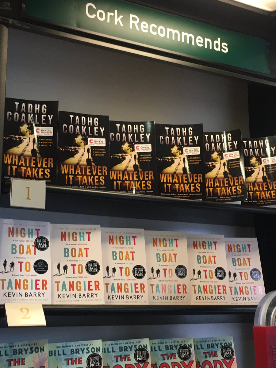 Number one spot goes to @TadhgCoakley this week of course. We are all championing 'Whatever It Takes' here and @corkcitylibrary An absolutely stellar crime novel set in our home by the Lee 📖 #onecityonebook #corkauthor #corkwriting #crimenovel #localbooks #topspot #bestseller https://t.co/ib08sx66Gi