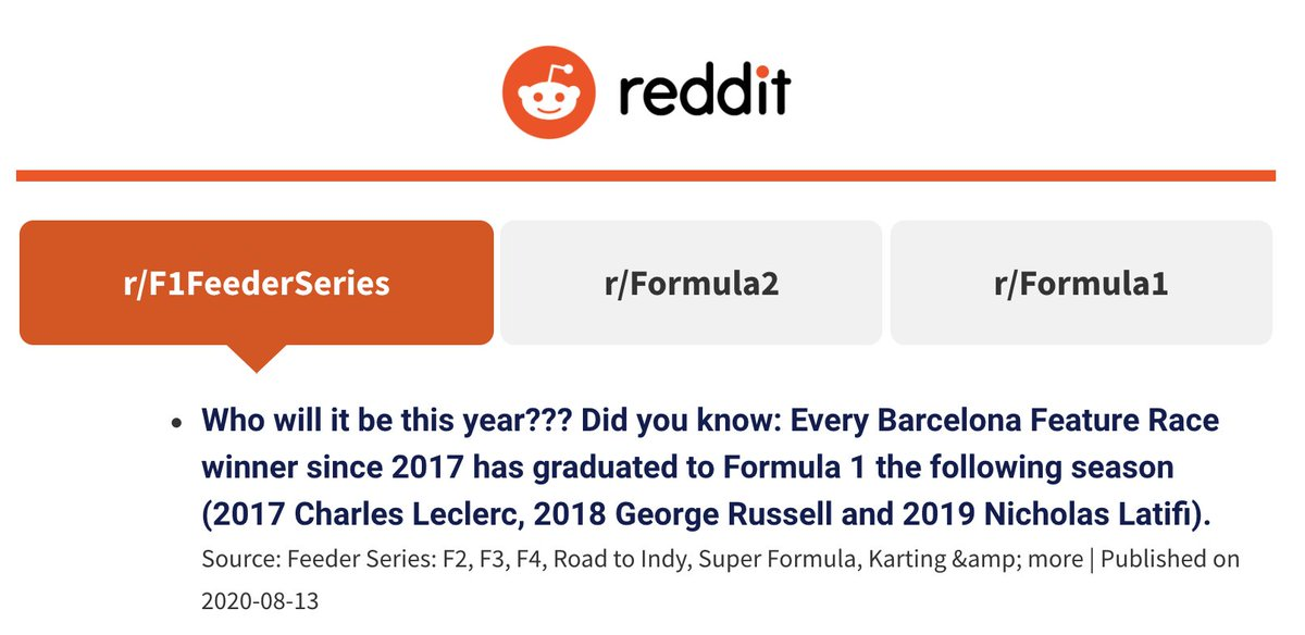 If you like #Formula1, #Formula2 and #RoadtoF1 discussion.. Remember to head over to our homepage and scroll to see the latest from our @reddit Top 3 Feeds.   Today we posted this question and fact! Prime and ready for discussion 🗣 https://t.co/w9eSMhUTd1