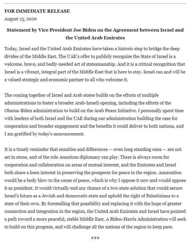 This is an excellent statement from @JoeBiden on the Israel-UAE announcement today. These contacts began across administrations. It's a welcome and historic development, warranting bipartisan endorsement.