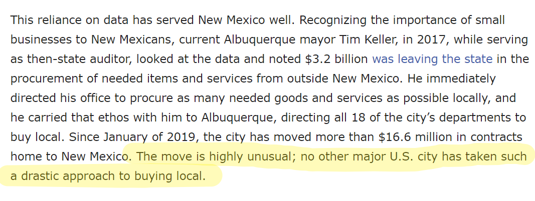 """""""Albuquerque has become a major """"anchor institution""""—an institution rooted in the community, unlikely to leave, and with many needs to be met—for the state's small businesses and cooperatives.""""  https://t.co/957yYUDWlz   #SupportLocalABQ #BuyLocal @CABQEconDev https://t.co/VkmV8LgKx5"""