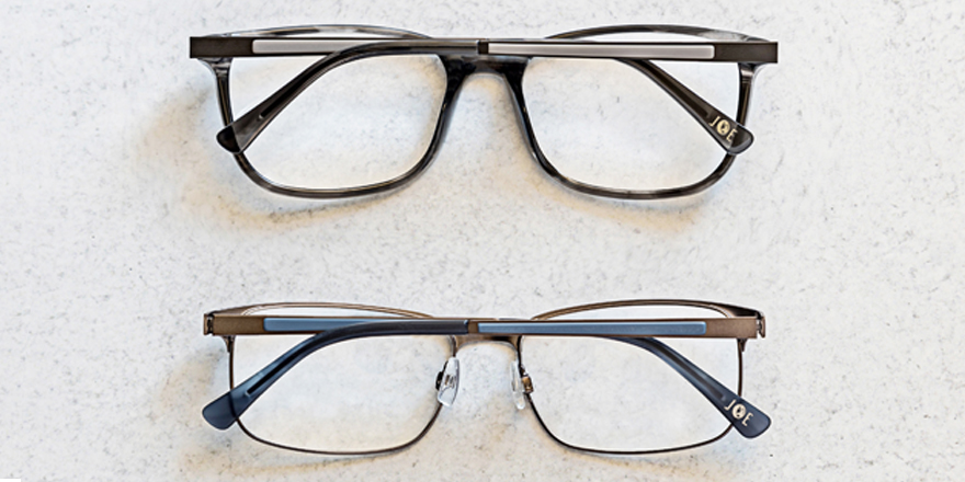 The top pair of #JOEEyewear offers horn acetate frame fronts; while it's brother style below boasts satin, flat metal fronts. Both styles feature matte temples with laminated acetate, and horn colored temple tips for a modern touch (styles JOE4081, JOE4082). @JosephAbboud https://t.co/AvSe9PWvfp