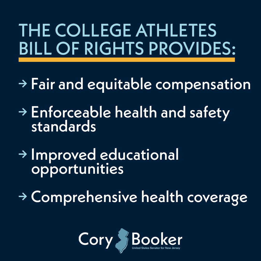 I applaud @CoryBooker for the work he's done on the College Athletes Bill of Rights Framework. It was introduced by Booker and ten other Senate Democrats this morning (including @KamalaHarris).  Read more: https://t.co/VOIzNtCeEz https://t.co/H6BLCJ3xXa https://t.co/yH3M9VlbaD