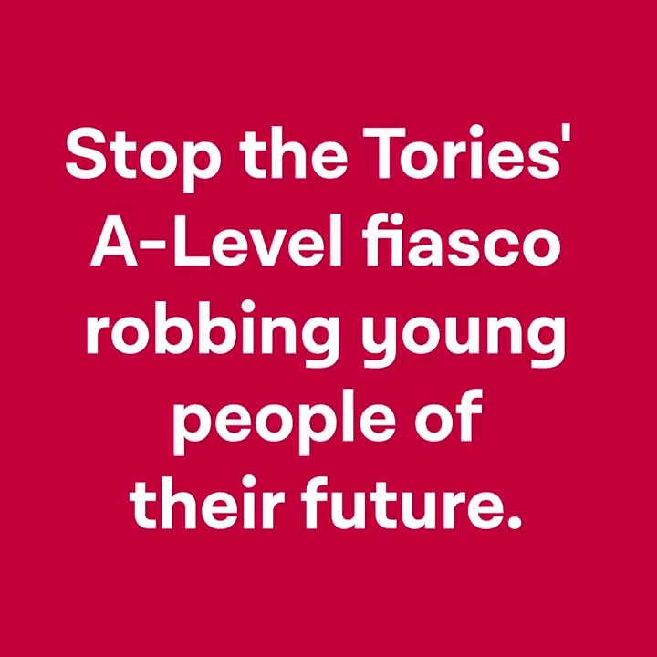 Tens of thousands of young people have had their results unfairly downgraded. The Government has been shambolic and dishonest. Take action now action.labour.org.uk/page/s/a-level…