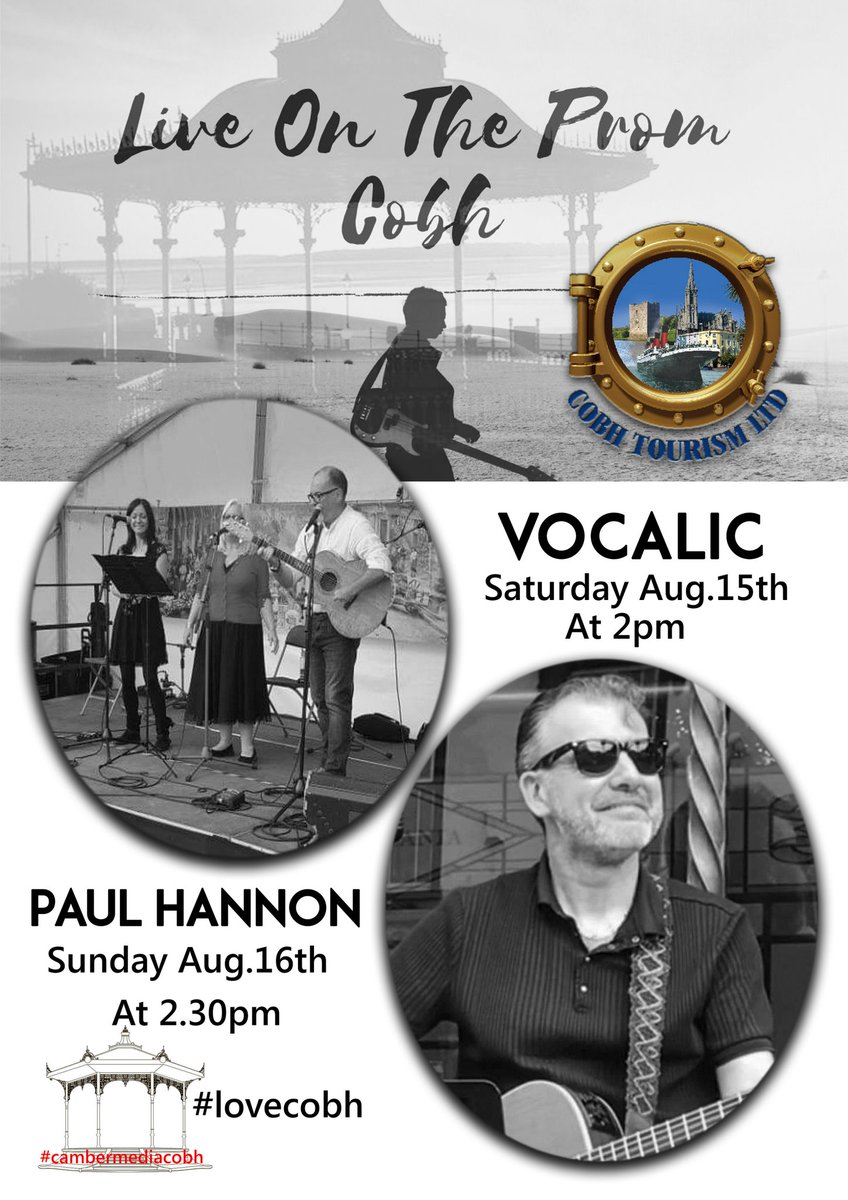 #Cobh is the place tobe this weekend ,listen to live music on the Bandstand  in the promenade Saturday from 2 o'clock we have Vocalic and Sunday from 230 we have Paul Hannon https://t.co/UjX1EQx3cL