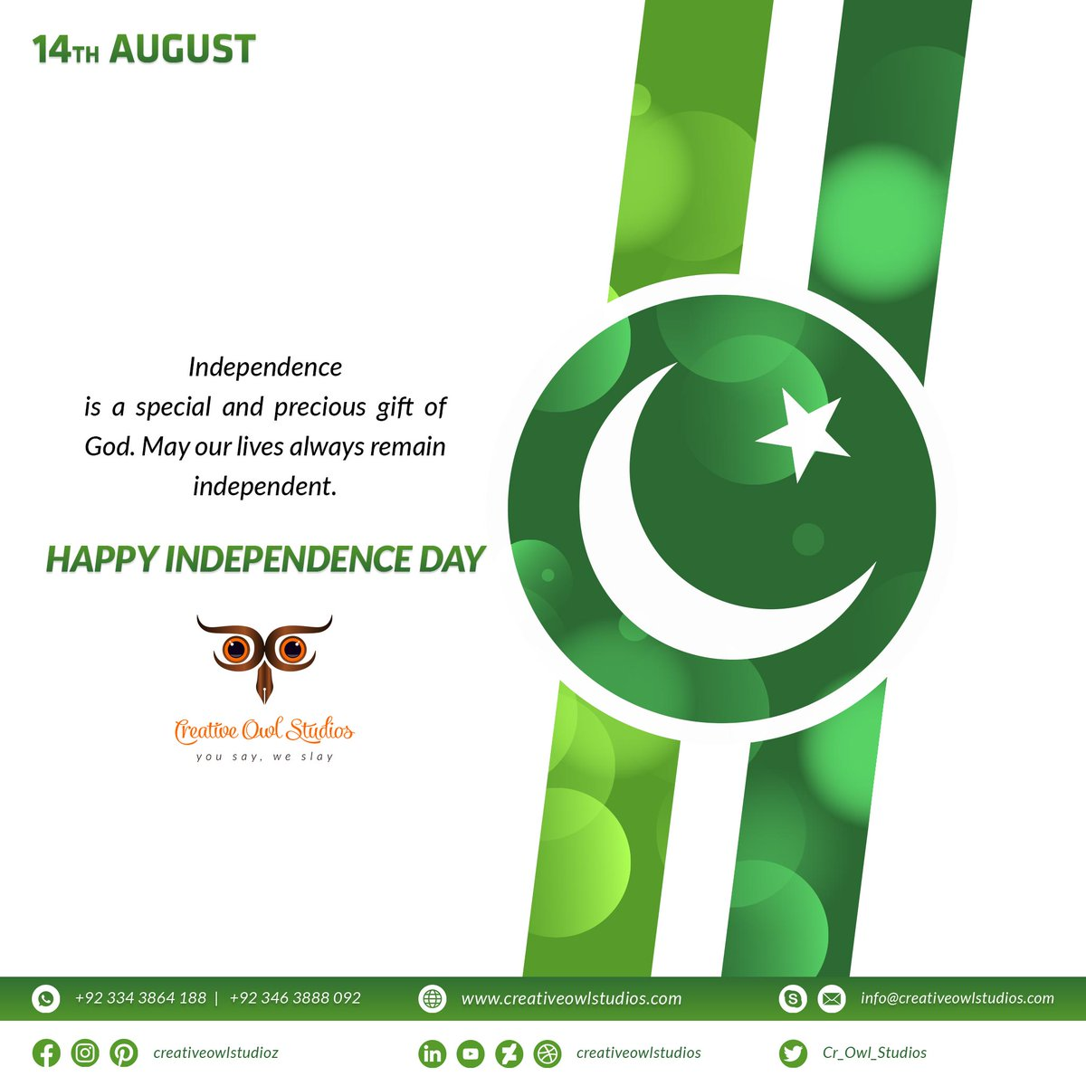 Happy Independence Day to all of you out there. Stay blessed 😇 . #independenceday #14thaugust #pakistanzindabad #freedom #independentartist #independence #independencedaycelebration #pakistan #eidwishes #happyindependenceday #graphicsdesign #freedomofspeech #green #pakistanday https://t.co/drgp6w28o1