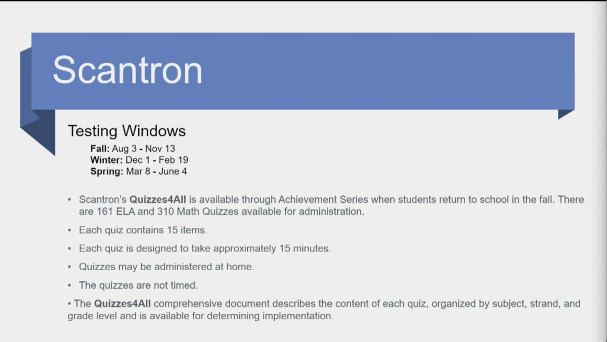 Optional assessment Scantron has established testing windows for the 2020-2021 school year. #ALBOE