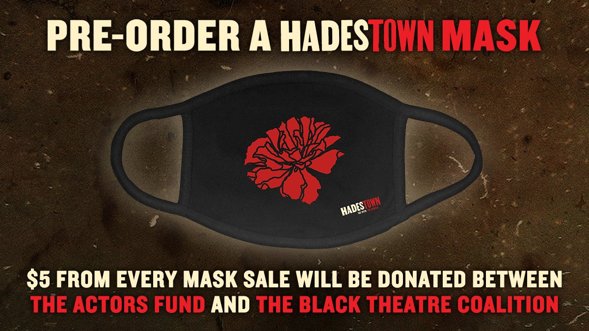 If you want a piece of #Broadway with you as we wait to safely gather together in theaters again, may we suggest a @hadestown mask! #WearAMask #HowToHelp