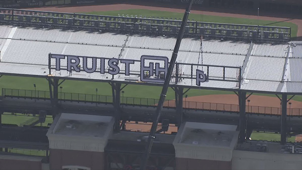 Check it out! 11Alive's SkyTracker caught the main signage for Truist Park being raised into place at home of the Atlanta Braves.  Take a look: https://t.co/u1zw3LCENm https://t.co/FQo2XOxnp0
