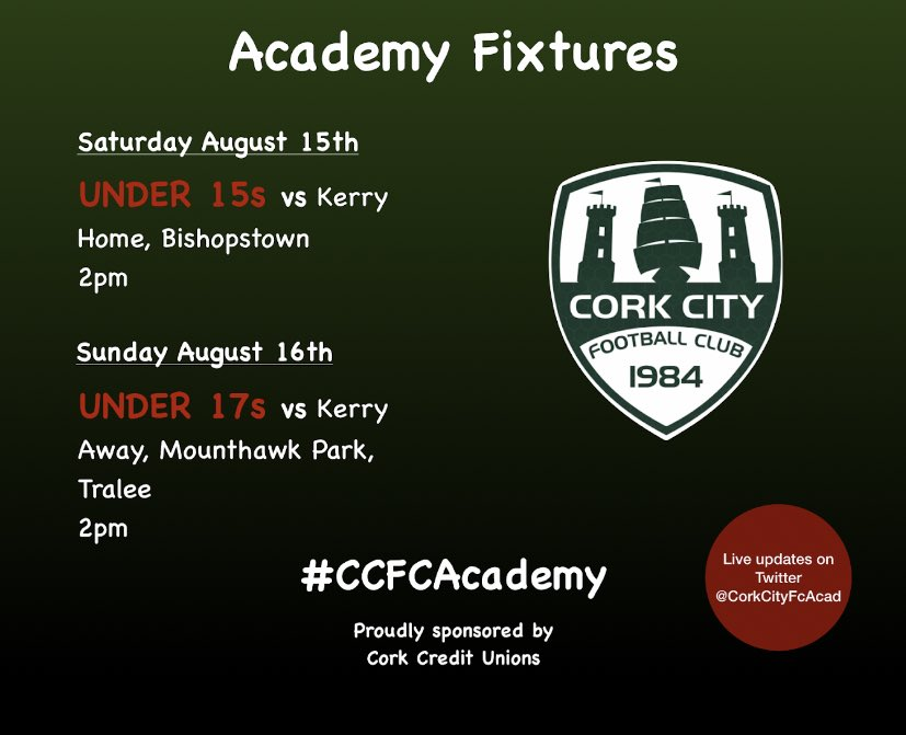 We're back ! 😍  Our 2020 @SSEAirtricityLg campaigns commence this weekend, as both, our Under 15s and Under 17s are in action !   ⚠️ Please be advised that all Academy games taking place in Bishopstown are closed to the general public ⚠️  #CCFCAcademy @CorkCUs https://t.co/FKQojfaYtN