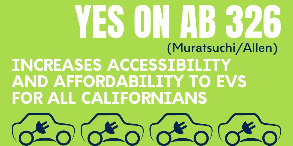 Live in #California?  Like to breathe?  Car dealers are trying to kill #AB326, because it wd allow consumers to access electric vehicles without having to take out a long-term lease or loan. Let's urge @Portantino to help pass #AB326! #ClimateAction #EnvironmentalJustice @Cali4EJ https://t.co/o8n162cT3M