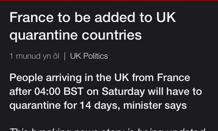 Another brilliant victory for our government who have successfully negotiated with the virus and convinced it not to enter the country from France for at least 30 hours. https://t.co/T3iOUXPWCE