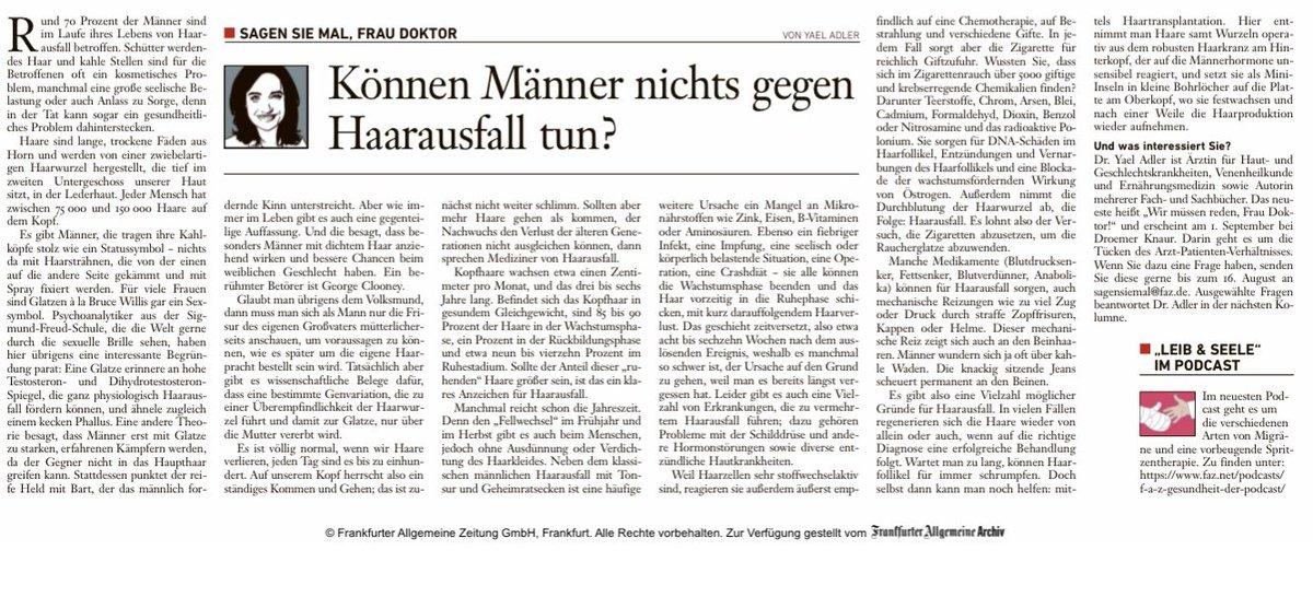 RT @DrYaelAdler: Meine Kolumne aus der FAZ am Sonntag. @faznet @KnaurVerlag #Männer #Haarausfall https://t.co/qON3aQwfpV