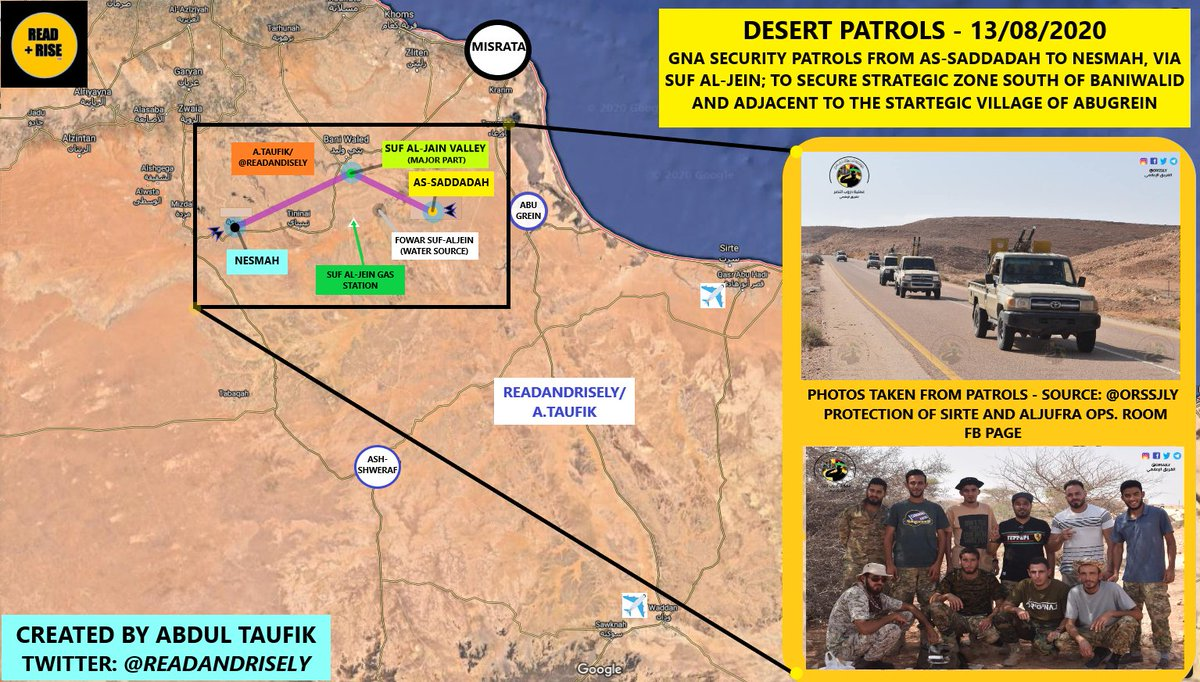 NEW MAP: Desert Patrols  Today - 13/08/20 - #GNA security patrols between a) As-Saddadah and c) Nesmah via b) Suf-Al-Jein (marked below).  To secure zone south of #BaniWalid and that adjacent to the strategic #AbuGrein village.  #Libya https://t.co/2WNZ9h1Iky