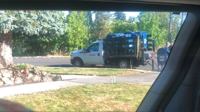 "The USPS is literally backing up trucks to mailboxes and taking them away. Here are photos of mailboxes being ""decommissioned"" in SE Portland and Eugene, Ore. Check out how many are already on the trucks! But today's news is probably going to be about ""golden showers"" instead. https://t.co/qROzgpZS0P"