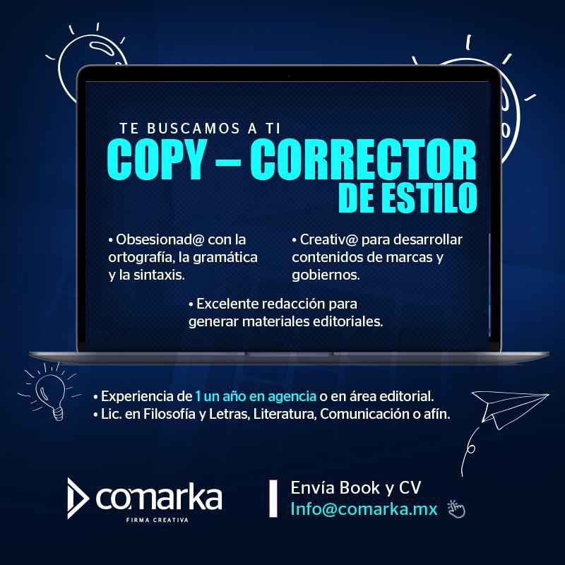 #Vacante 👉🏼 Copy - corrector de estilo, te seguimos buscando, sabemos que estás ahí y vamos a encontrarte.🤓 Envía tu CV a info@comarka.mx 👇🏻😉 📌Puebla  #SomosComarka #FirmaCreativa https://t.co/ia6XEXiIEr