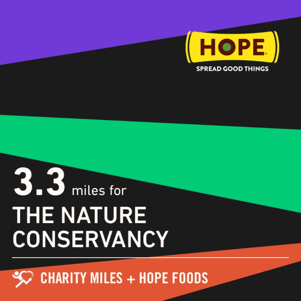 I walked 3.3 @CharityMiles for @nature_org. Thx @HopeHummus for sponsoring me! #SpreadHope https://t.co/ycPP1R7y5E