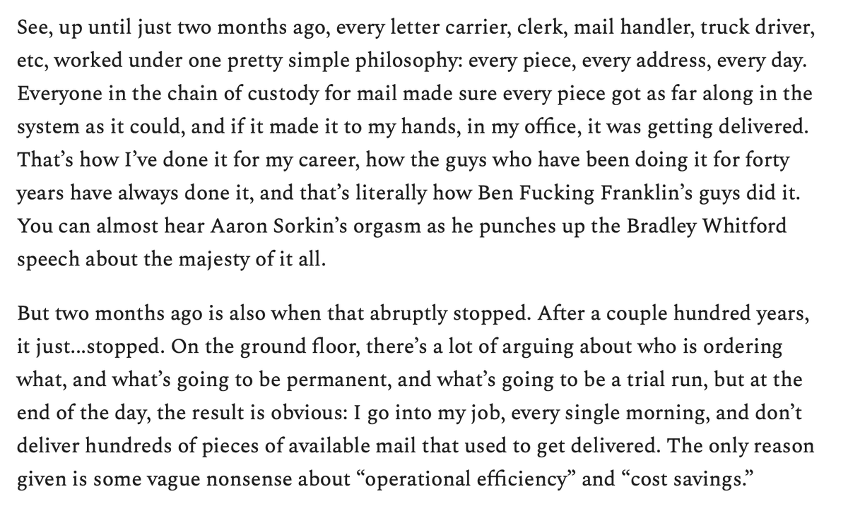 """An anonymous postal carrier on the deliberate destruction of the USPS: """"I can count on zero hands how many times I've personally withheld delivery of mail without a goddamn good reason."""" https://t.co/ADutBMYsOc https://t.co/DxKvMo9UMg"""