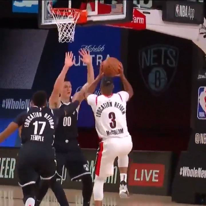 CJ is 6-8 from the field!  @trailblazers 25 @BrooklynNets 19  POR clinches a Play-In berth with a W. https://t.co/yEDQQbN3vj