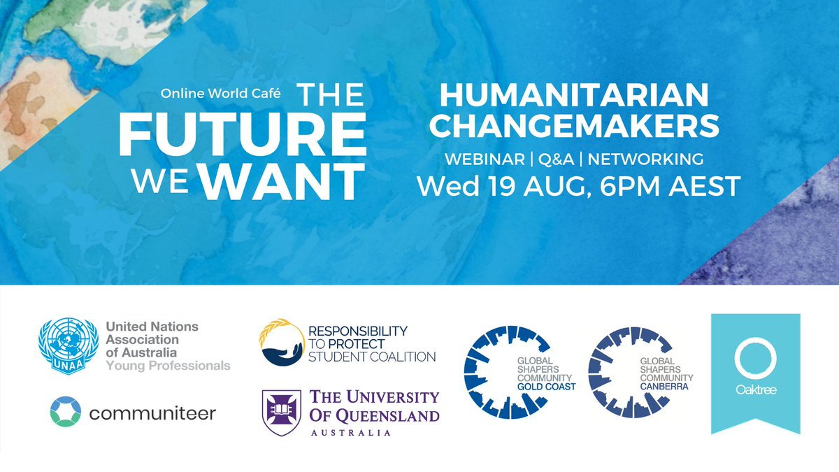 The UNAA QLD Young Professionals are back with their World Cafe Series on 19 August. 'The Future We Want: Humanitarian Changemakers' will explore what it's like to work in the #humanitarian sector.  Register: https://t.co/nJcd9xtLwt https://t.co/joAqNdmMI9