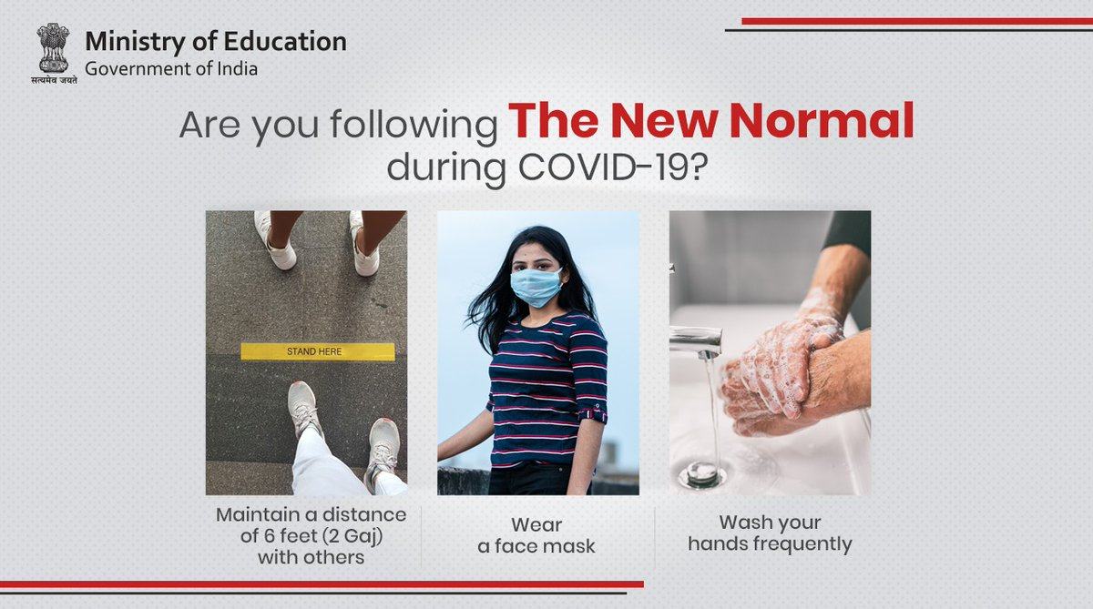 Are you following the #NewNormal during the #Covid19 pandemic? If not, here is a quick reminder to: - Maintain a distance of 6 feet (2 gaj) with others - Wear a face mask while stepping outside - Wash your hands frequently #StaySafe🙏 #StayHome🏡