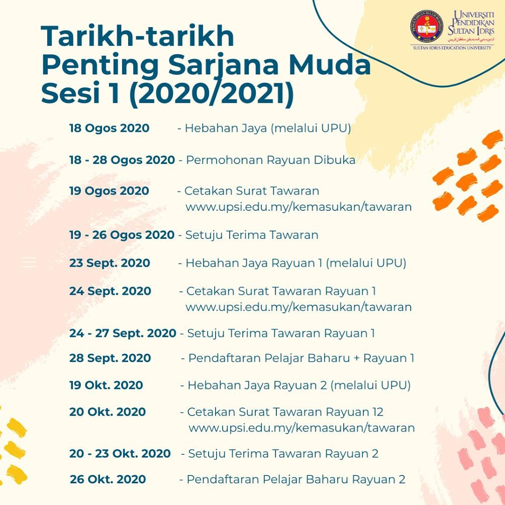 Upsi Malaysia A Twitter Perhatian Tarikh Tarikh Penting Permohonan Ijazah Sarjana Muda Sesi 1 2020 2021 Bahagian Hal Ehwal Akademik Upsi Https T Co 1jrj336izo