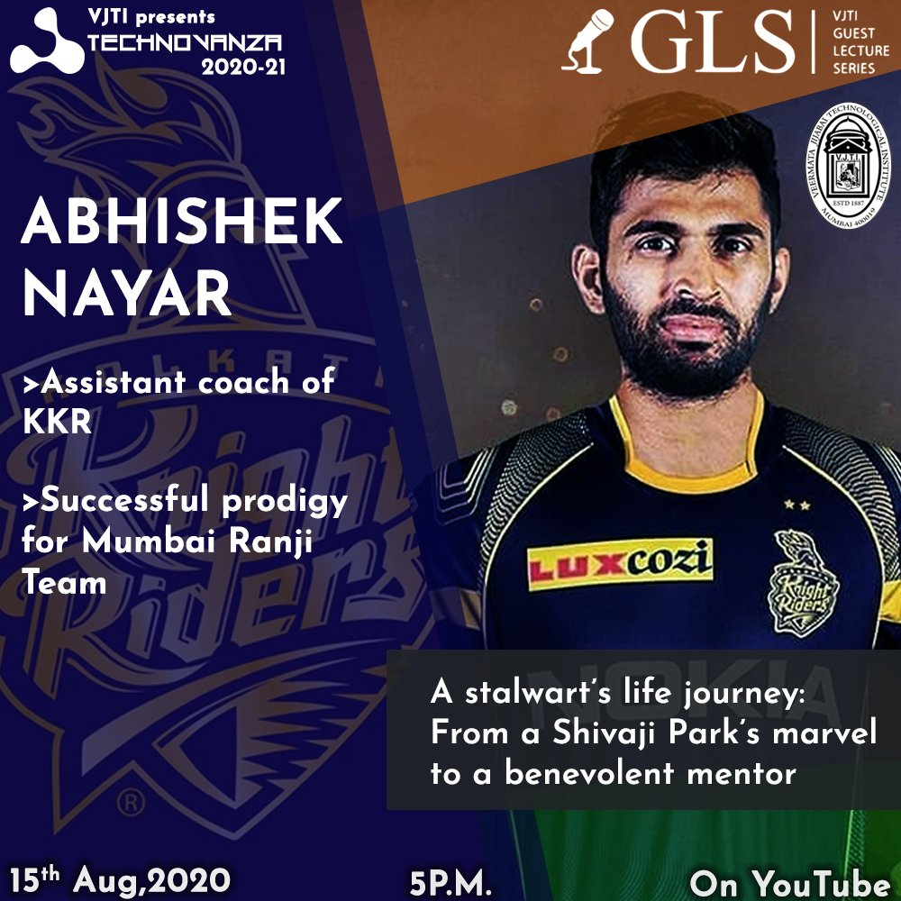 For once cricket has claimed you, it never lets you go. - Marcus Berkmann  This Independence Day, we at Technovanza welcome Mr. Abhishek Nayar to share his cricketing experiences and much more... live at 5pm on our YouTube channel! #gls2020 #amikkr