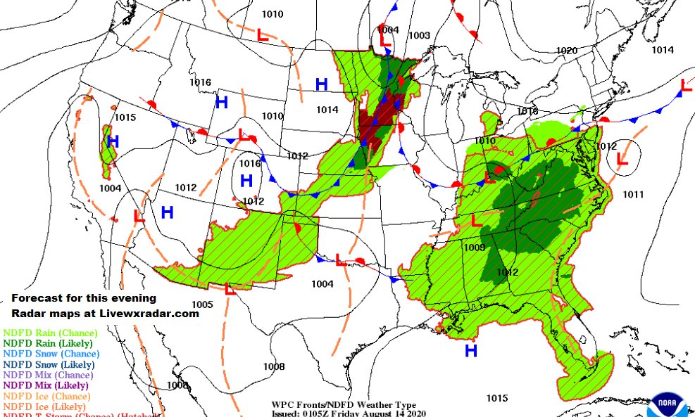 Forecast map this evening      See more Maps and  Radars at :    https://t.co/HNLPnbqhEd            #wx #weather #index #wave #cooler  #storm #hail #wind #flooding #traffic #flood #rain #Forecast #local #news #humid #storm #radar #map day https://t.co/h1uMXvsEeQ