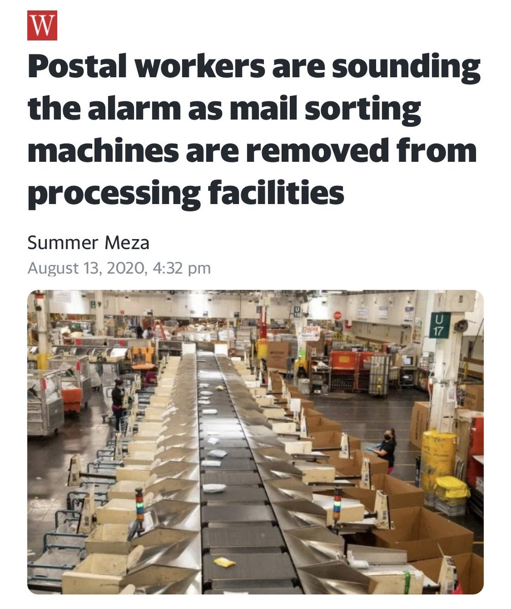 They're actually removing mail sorting machines from post office facilities.