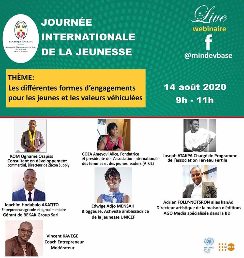 La Journée Internationale de la Jeunesse se poursuit ici demain vendredi! Suivez en direct un panel de jeunes leaders passionnés et déterminés sur les différentes formes d'engagement pour les jeunes, les messages véhiculées et les défis à affronter.  #jij2020 #JeunesseTogolaise https://t.co/Dn1eg9CnUE