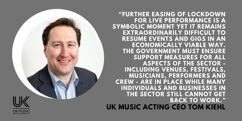 This is a welcome step towards live music returning. We need Government to support the talented workforce across creation, performance and production in a sector-specific deal to make sure that music can play when the venue doors open.