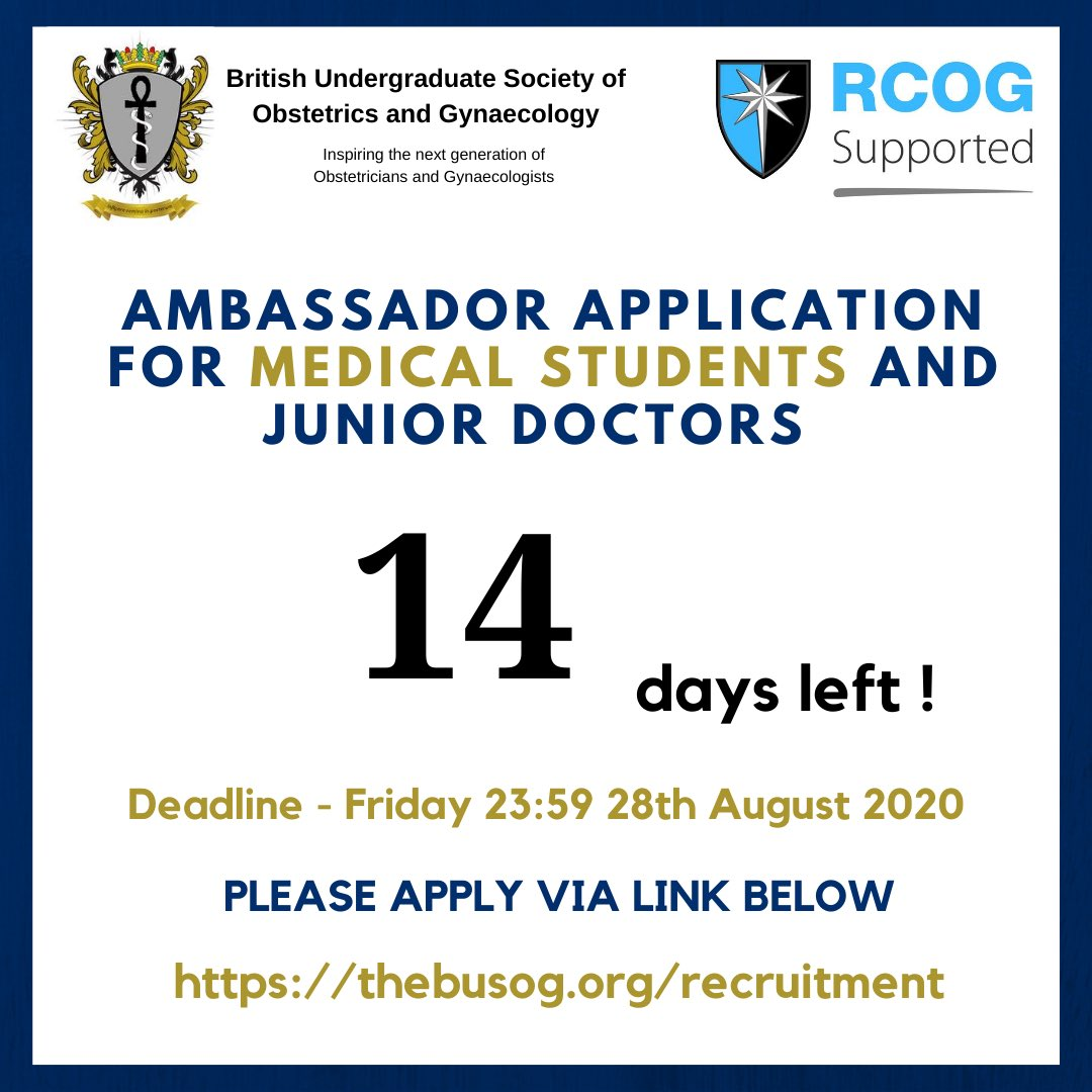 Attention junior doctors and medical students! 14 days left to apply to be BUSOG ambassadors to represent your deanery/medical school.   Please share, retweet and tag your colleagues!   Details on how to apply is on our new website!   #ambassador #thebusog #obgyn #obsgynae https://t.co/MEOqmQxxvr