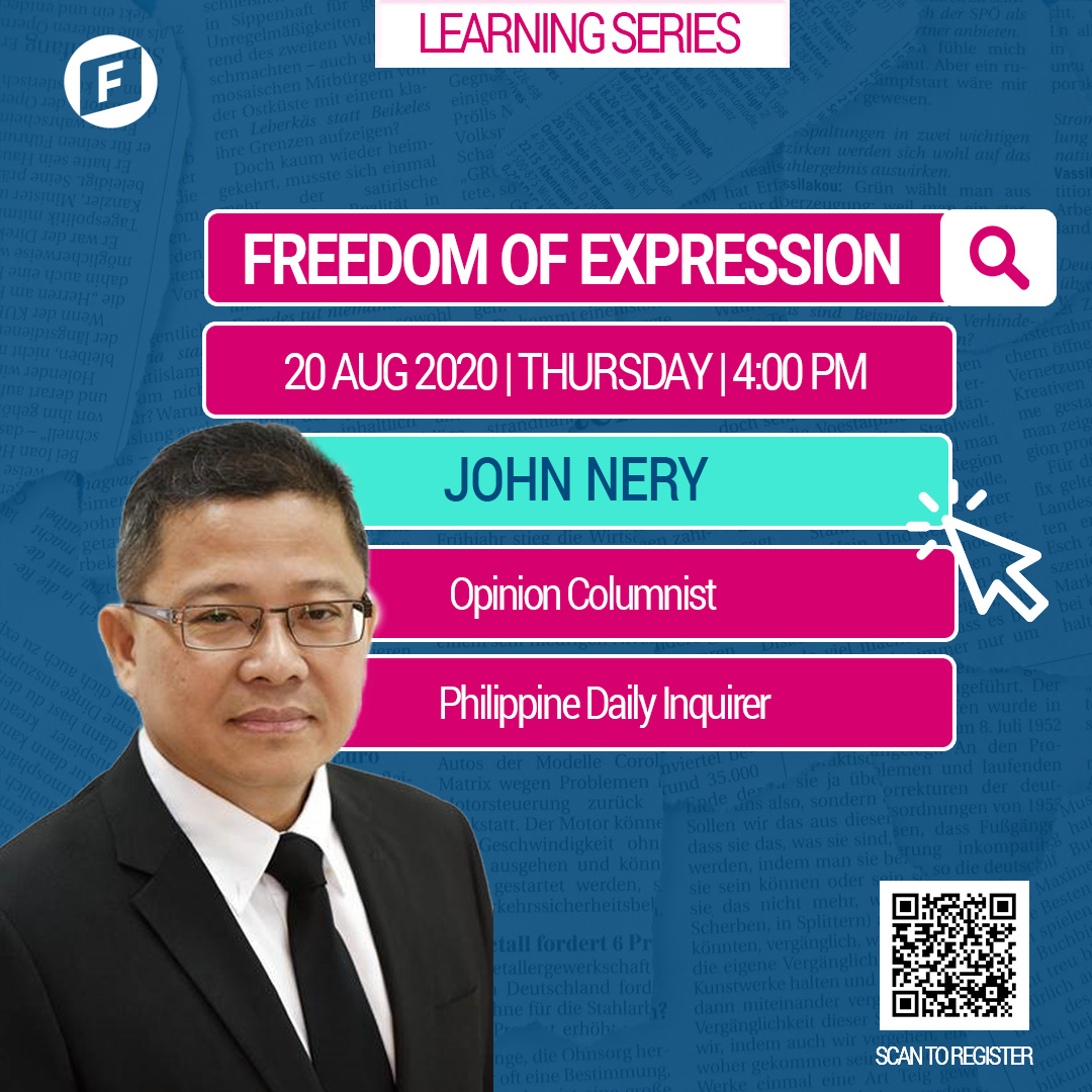 Where do we draw the line when it comes to self-expression & free speech?   On Aug. 20, Thursday, Mr. John Nery will talk about two of the fundamental rights we possess and how the current events have challenged the way it is understood.  Register here: https://t.co/ewFuxiw49Z https://t.co/nUEeZ2pBHC
