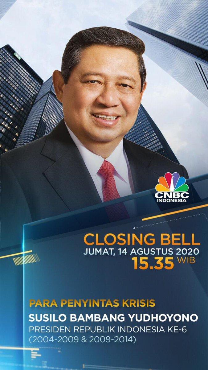Saksikan pandangan SBY terkait permasalahan pandemi Covid-19 yang melanda dunia dan Indonesia serta dampak ekonominya dalam acara Closing Bell di TV @CNBCIndonesia, Jumat 14 Agustus 2020, pukul 15.35 WIB.