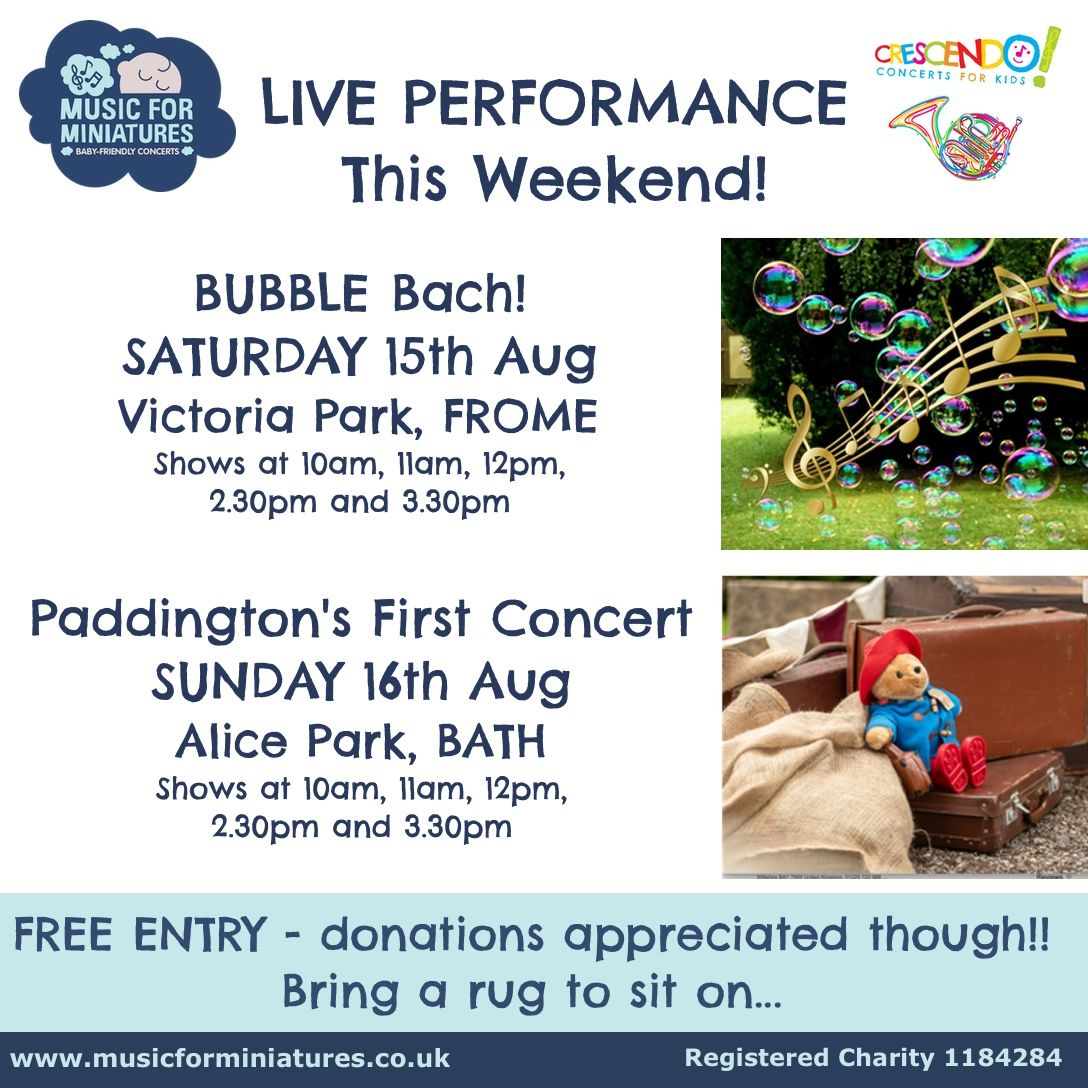Shows at 10am, 11am, 12pm, 2.30pm and 3.30pm TOMORROW in Frome and Sunday in Bath! Bring the whole family for some brilliant live music, amazing bubbles and storytelling. It's free, just bring a rug, distance yourselves, and enjoy! #livemusic #somerset #familytime https://t.co/M9dSYhUd9T