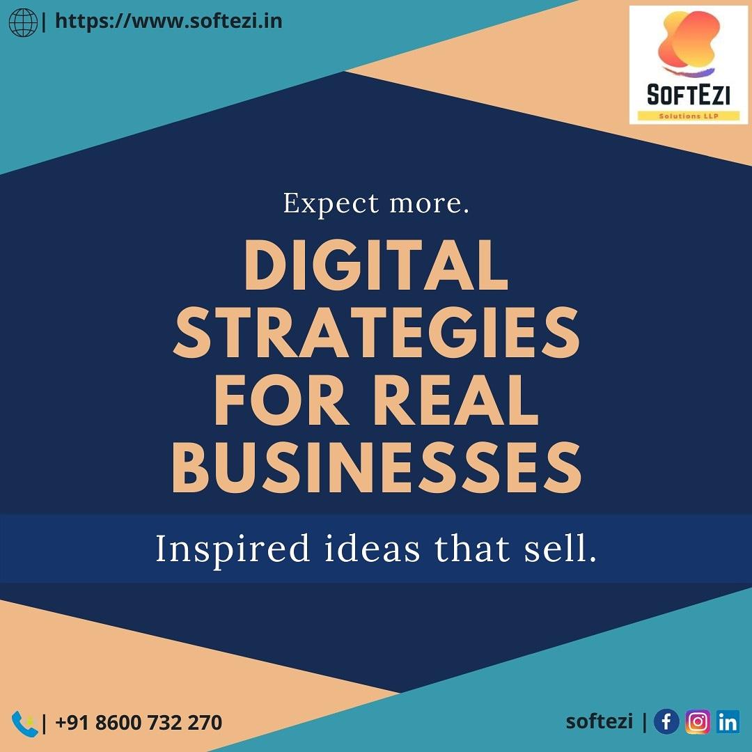 Digital Strategies for real businesses #softezi #softezisolutions #softezisolutionsllp #websitedevelopment #mobileapplicationdevelopment #digitalmarketing #desktopapplication #erpsolutions #ecommerce https://t.co/zqC0UWWLk6