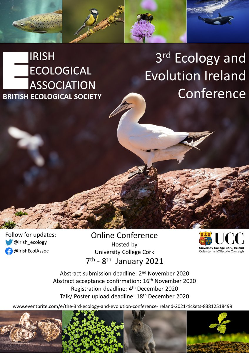 We are delighted to announce that the 3rd Ecology and Evolution Ireland conference, hosted by @UCC , is going ahead virtually 7-8 January 2021!  The IEA conference committee are busy behind the scenes. Save the date and stay tuned for more details coming soon. https://t.co/kFH0kpBVZv