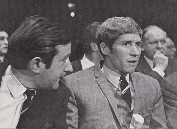 Alan Ball ringside at a boxing bout at Belle Vue, Manchester in the late 1960s