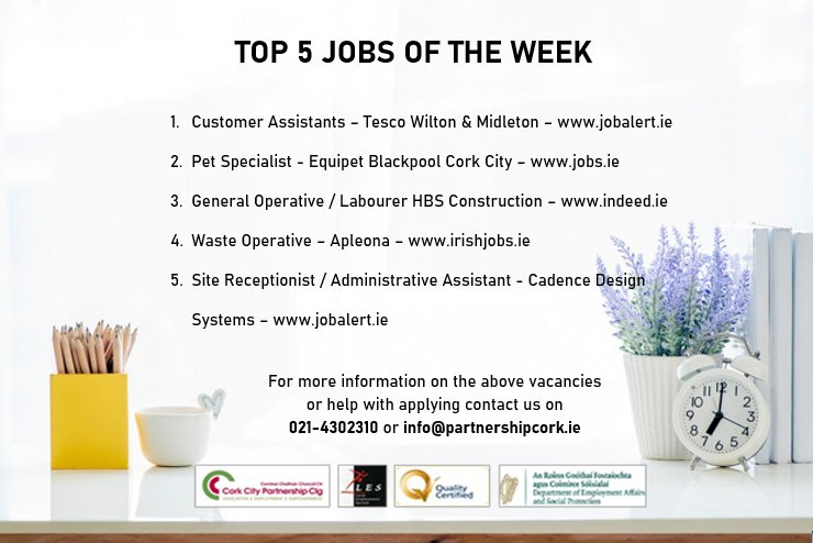 Happy #friday everyone 😀 Here is another selection of our top 5 #jobs of the week around #corkcity  If you need info or help applying for these positions our Employment team are here to help ☎️ 0214302310 📧 info@partnershipcork.ie or message us here #jobs #jobsireland #welfare https://t.co/jzvtTn8Rrh