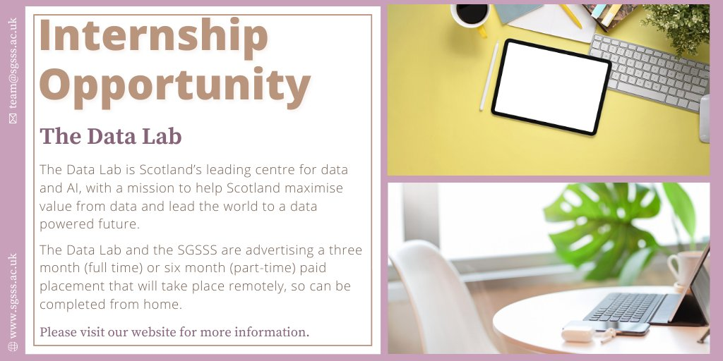 The final #internship we'd like to share with you is an exciting opportunity to work with @DataLabScotland. The Data Lab are advertising a 3 month (full time) or 6 month (part-time) paid placement that will take place remotely. More information here 👉https://t.co/MSds1BbQjl #PhD https://t.co/tfYhwtwTd8